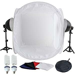 PMS®Continuo Kit illuminazione Set 5500K (2 x lampada) +80*80*80cm fotografico studio tenda luce cubo softbox con 4*Sfondos--bianco/nero/blu/rosso