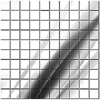 Gosear-100 piezas BRICOLAJE en acrílico pegatinas espejo superficie pared pegatina Home Decor(2 x 2cm.Plata)