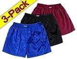 (L) Blau Schwarz Weinrot 3er Pack Boxershort Boxershorts Herren Unterwäsche Satin Glanz Boxer Short