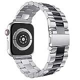Für Apple Watch Series 4 Armband 44mm,Colorful Edelstahl iWatch Straps Ersatzband Uhrenarmband Wristband Zubehör für Apple Watch Serie 4 44mm, Schwarz