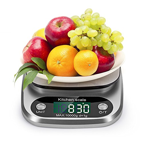 Bilancia da Cucina, 10Kg/1g Elettronica Bilancia Digitale da Cucina Precisione, Funzione di Tara, Display LCD, Batteria Inclusa
