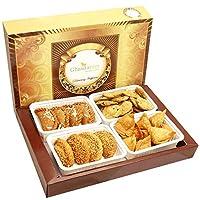 Ghasitaram Gifts Holi Hampers:Big Box of Dry Sweet Gujiyas, Til/Sesame Gujiya, Farsan Samosas and Methi Mathi Hamper