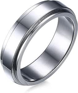 Vnox Anello da Uomo a Fascia da Donna Spinner Anello da Fidanzamento in Acciaio Inossidabile con Promessa di Fidanzamento