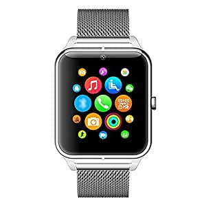 Toshiba WT8-B COMPATIBLE Silver Z50 Smart Watch Phone Bluetooth GSM NFC G-sensor Camera 1 SIM Card Pedometer Sedentary Reminder Call SMS Sync Compatible with all Andriod Iphone Samsung Nokia lava Lenovo Moto Redmi Acer LG all andriod phones by VELL-TECH