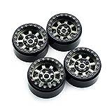 INJORA 4 Stücke 1,9 Beadlock Felgen Metallische Räder Felge Set für 1/10 RC Crawler Axial SCX10 90046 90047 Tamiya CC01 RC4WD D90 D110 (Schwarz)