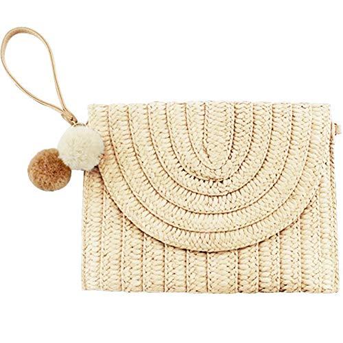 Gewebte Clutch-handtasche (EFINNY Frauen Stroh gewebt Clutch Handtasche Casual Style Abendtaschen mit flauschigen Ball Dekoration)