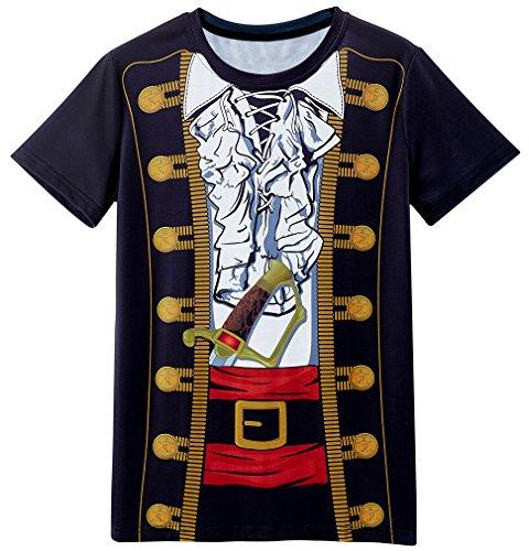 Kostüm Männer Übergröße - COSAVOROCK Herren Übergröße Piraten Kostüm T-Shirts (3XL)