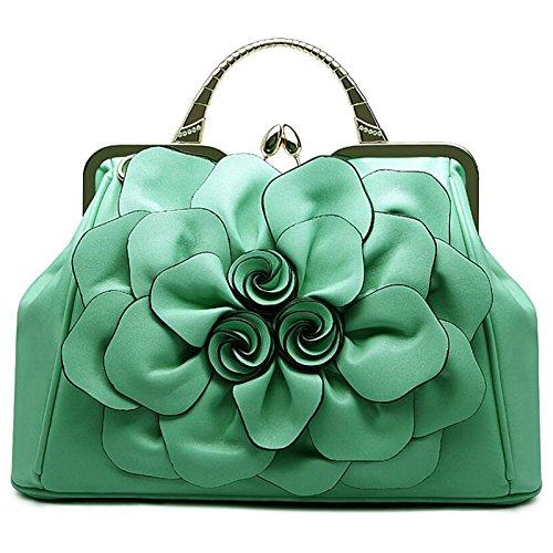 Syknb Rose Blume Taschen Freizeit Alle Mit Tragbaren Schulter Ranzen Grass green