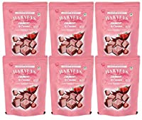 Harveys Crunchy & Creame Gourmet Delicacies Cream Wafer Biscuit 110 g Pouch Pack - Strawberry Flavoured (Pack of 6)