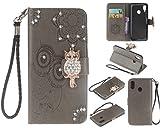 Artfeel Glitzer Diamant Brieftasche Hülle für Huawei P20 Lite, Geprägt Eule Blume Leder Flip Kartenhalter Hülle,3D Bling Strass Magnetverschluss mit Handschlaufe Stand Handyhülle-Grau