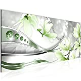 Bilder Blumen Magnolien Wandbild 100 x 40 cm Vlies - Leinwand Bild XXL Format Wandbilder Wohnzimmer Wohnung Deko Kunstdrucke Grün 1 Teilig -100% MADE IN GERMANY - Fertig zum Aufhängen 207212b