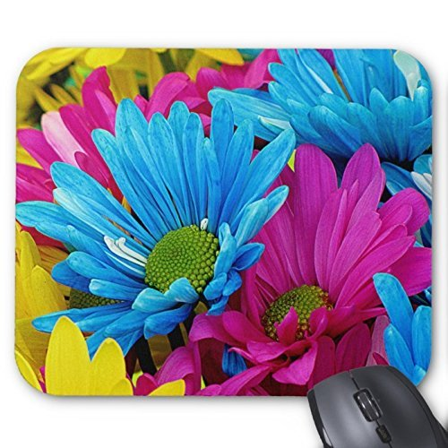 Colorful Hot Rosa Teal Blu Gerber Daisies Fiori Mouse Pad Grande Accessori per Ufficio e regalo