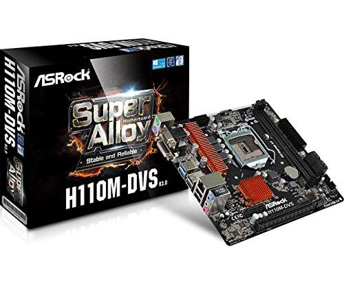 ASRock H110M-DVS - 3.0 Motherboard (Mikro-ATX LGA1151 Socket H110 Gigabit LAN Onboard-Grafik (CPU erforderlich) HD Audio (8-Kanal))