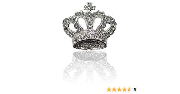 Crown 38mm Clear Fashion Brooch Pin Badge Novelty Crystal Diamante Bling Wedding Amazon Co Uk Clothing
