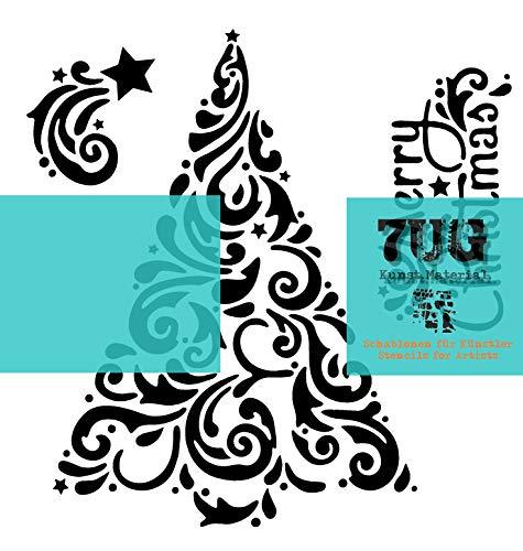 7UG Schablone Tannenbaum (13x13cm) - für Mixed Media Techniken und effektvolle Weihnachtskarten