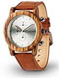 LAiMER 0059 - PAUL, Analogique Quartz Montre-bracelet, chronographe, zebrano, avec bracelet en cuir, homme