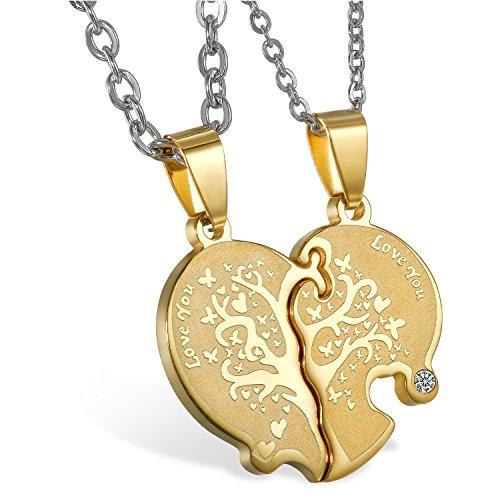 JewelryWe Schmuck 2 Freundschaftsketten mit kostenloser Gravur, Edelstahl Herz Partner-Anhänger Halskette mit Gravur Love You Baum des Lebens, Paar Anhänger Kette für Damen Herren, Gold