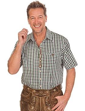 Trachten Herren Hemd mit 1/2 Arm - VOLKMAR - rot, grün