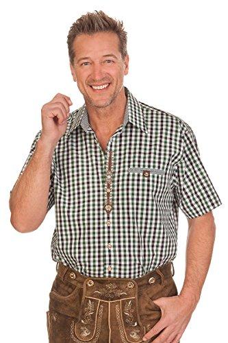 orbis Textil Trachten Herren Hemd mit 1/2 Arm - Volkmar - Rot, Grün, Größe 45/46 (XXL)