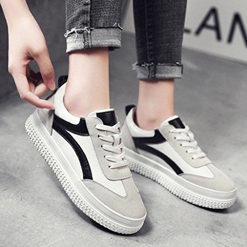 HWF Scarpe donna Primavera piatto casual scarpe sportive Studente fondo spesso piattaforma scarpe da donna femminile ( Colore : White orange , dimensioni : 38 ) White Black