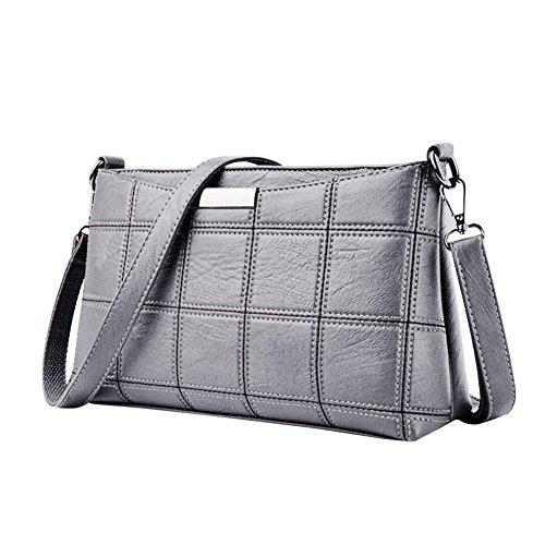 QinMM Frauen Handtasche Leder Plaid Messenger bag Schulter Kleine Quadratische Paket Umhängetasche Schwarz Grau Rosa Rot (Grau) -