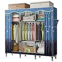 UDEAR Portable Canvas Wardrobe Clothes Toy Storage Rack 166x45x172cm, Dark Blue