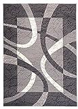 Carpeto Designer Teppich Modern Rahmen Gestreift Kurzflor Meliert In Grau - ÖKO Tex (60 x 100 cm)