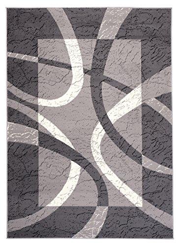 Carpeto Designer Teppich Modern Rahmen Gestreift Kurzflor Meliert In Grau - ÖKO Tex (200 x 300 cm)