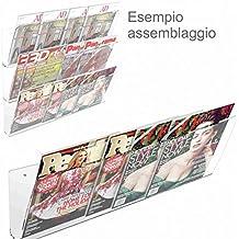 Espositore da parete in plexiglass trasparente porta riviste e quotidiani modulare a 1 tasca