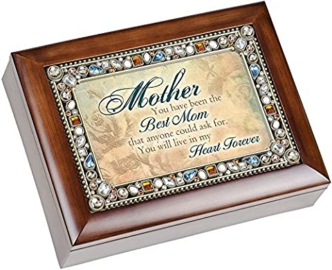 You Have Been the Best Mom Jeweled Lid Musical Music Jewelry Box with Dark Wood Finish Plays Wind Beneath My Wings by Cottage Garden