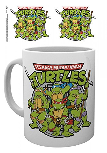 1art1 Set: Teenage Mutant Ninja Turtles, Retro Foto-Tasse Kaffeetasse (9x8 cm) Inklusive 1x Überraschungs-Sticker