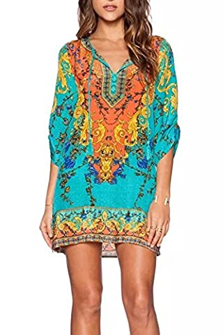 WIWIQS Womens Bohemian Neck Tie Vintage Printed Ethnic Style Summer Shift Dress,L