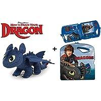 Como entrenar a tu Dragon (HTTYD) - Pack peluche Desdentado Toothless Furia Nocturna Negro