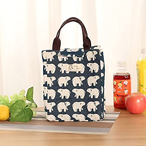 Upper-Lunch Bag Lunch Bag Lunch Bag Size waterproof portable lunch bag packed meal pupils lunch bag cotton bag lunch bag,Large polar bear
