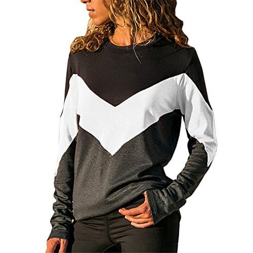 VRTUR Damen lose V-Ausschnitt Langärmliges Hemd mit unregelmäßigem diagonalem Kragen T-Shirt(Weiß,L)
