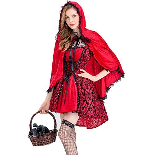 1-1 Halloween Erwachsene Frauen Rotkäppchen-Kostüm, Hexe Vampir Dämon rotes Kleid Abendkleid (Dunkles Rotkäppchen Für Erwachsene Damen Kostüm)