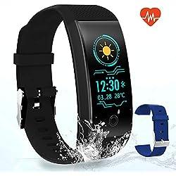 El Mejor Pulsera de Actividad Inteligente - GLAMSVILL Pulsera Actividad Reloj Inteligente Con Monitor de Presión Arterial y Frecuencia Cardíaca, Contador de Calorías, Podómetro, Monitor de Sueño, con Sistema de Notificaciones, Para Dispositivos Android y Ios, de Color Negro