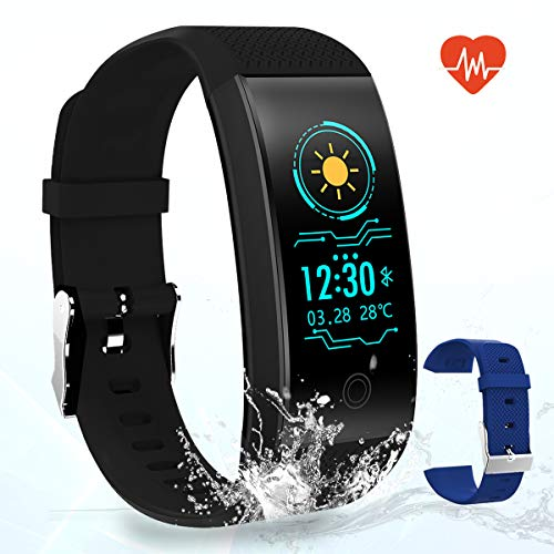 Montre Connectée Bracelet Connecté Fitness Tracker d'Activité, Compteur de Calories, Podomètre, Tensiomètre et Moniteur de Fréquence Cardiaque, Fonction de Notification pour Android iOS Smartphone