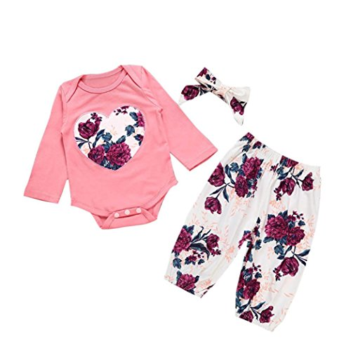 SHOBDW Girls Clothing Sets, Baby Girls Floral Print Romper + Pants + Headband Newborn Kids Outfits Clothes