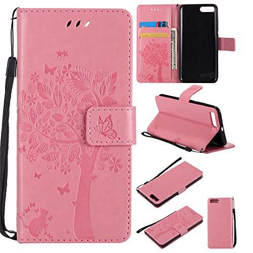 Ooboom® Xiaomi Mi 6 Hülle Katze Baum Muster Flip PU Leder Schutzhülle Handy Tasche Case Cover Standfunktion mit Kartenfächer für Xiaomi Mi 6 - Rosa
