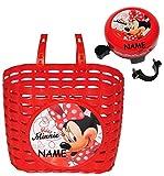 Set: Fahrradkorb + Fahrradklingel - Disney Minnie Mouse - incl. Name - Fahrrad Maus Mickey - rot - universal auch für Roller und Dreirad Laufrad / Kinderfahrrad Kinder - Mädchen - mit Befestigung für Lenker vorn