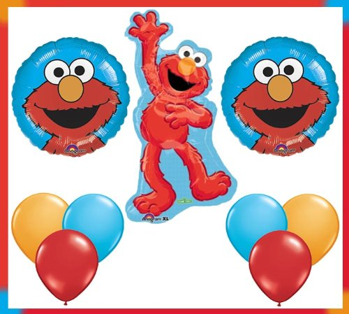 Sesame Street Elmo Character Jumbo Mylar Foil Balloon Set - Birthday Party Supplies by Anagram by (Supplies Party Sesame Birthday Street)