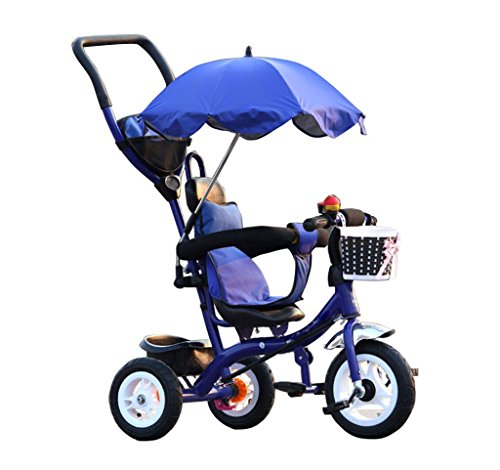 Chariots de tricycle pour enfants Carrières pour bébés Bicyclettes pour enfants 3 roues, BlueBike (Garçon / fille, 1-3-5 ans)