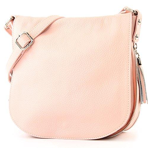 de Leder Umhängetasche ital Rosa T06 Ledertasche modamoda Messenger Crossover Damentasche 0dIxn5qS