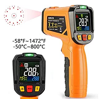 Infrared Thermometer AIDBUCKS AD6530B Laser Digital Non Contact IR Temperature Gun Color Display -58°F to 1472°F with Temperature Alarm Function for Cooking Food Kitchen Oven Industry etc.