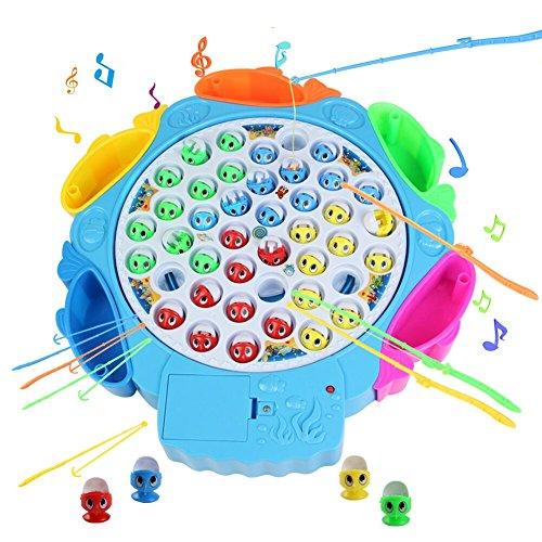 Angeln Spielzeug mit Angelruten und Fisch mit Musik Ausschaltbar für Kinder 3 Jahre (2 Arten Zufällig Geliefert.)