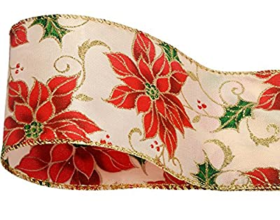 60mm Metallic Detail Christmas Poinsettia Wired Ribbon - 3m
