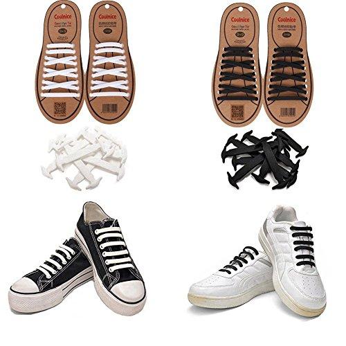Joyshare No Tie Lacci per scarpe per bambini e adulti - Impermeabile in silicone elastico piatto Laces Athletic scarpa da corsa con multicolore per Scarpe Sneakerboots bordo e scarpe casual (Black+White)