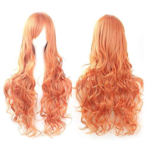 osplay Kostüm Perücken Frauen Lange Locken Wellenförmige Rote Halloween Party Anime Haar Echthaar Perücke ()