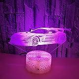 HPBN8 3D Auto Lampe USB Power 7 Farben Amazing Optical Illusion 3D wachsen LED Lampe Formen Kinder Schlafzimmer Nacht Licht【7 bis 15 Tage in Deutschland angekommen】